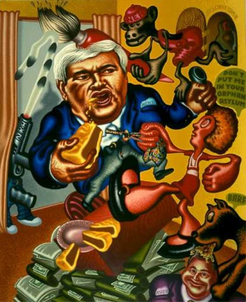 Peter Saul, Newt Gingrich vs. Orphan Annie